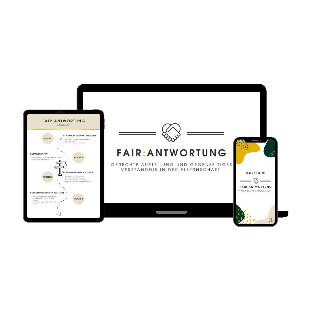 Tablet, Laptop und Handy mit Inhalten aus Kurs Fair:antwortung
